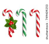 xmas lollipop set with gradient ... | Shutterstock .eps vector #749409253