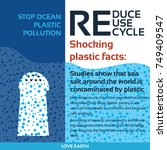 stop plastic pollution reduce ... | Shutterstock .eps vector #749409547