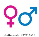 male and female icon symbol on... | Shutterstock .eps vector #749411557