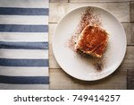 top view of a slice of homemade ... | Shutterstock . vector #749414257
