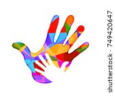 family. child and parents hands ... | Shutterstock .eps vector #749420647