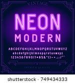 bright neon alphabet letters ... | Shutterstock .eps vector #749434333