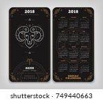 aries 2018 year zodiac calendar ... | Shutterstock .eps vector #749440663