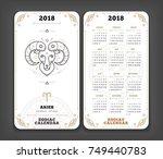 aries 2018 year zodiac calendar ... | Shutterstock .eps vector #749440783