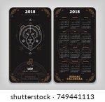 leo 2018 year zodiac calendar... | Shutterstock .eps vector #749441113