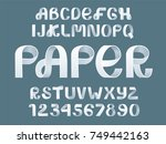 paper folding alphabet vector.... | Shutterstock .eps vector #749442163