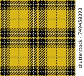 yellow and black scottish woven ... | Shutterstock .eps vector #749458393