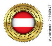 made in austria golden badge... | Shutterstock .eps vector #749465617