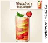 strawberry lemonade. detailed... | Shutterstock . vector #749469163