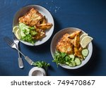 two bowls with deep fried fish...   Shutterstock . vector #749470867