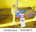 gas process valve isolation... | Shutterstock . vector #749478973