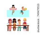 vector summer camp kids... | Shutterstock .eps vector #749479513