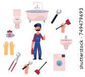 vector cartoon man blumber in...   Shutterstock .eps vector #749479693