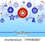 christmas ornament balls with... | Shutterstock .eps vector #749480887