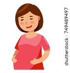 happy motherhood pregnant woman ... | Shutterstock .eps vector #749489497