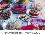 beautifully decorated catering... | Shutterstock . vector #749496277