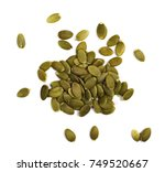 pumpkin seeds isolated on white ... | Shutterstock . vector #749520667