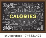 hand drawn icons about calories ... | Shutterstock .eps vector #749531473