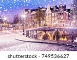 traditional dutch old houses... | Shutterstock . vector #749536627