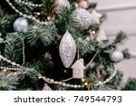 festive christmas jewelry and... | Shutterstock . vector #749544793