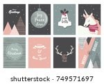 merry christmas cards ... | Shutterstock .eps vector #749571697