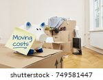 on a moving box there is a... | Shutterstock . vector #749581447