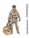 Small photo of Soldier standing with duffel bag studio shot