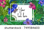 lovely floral background.... | Shutterstock .eps vector #749584603