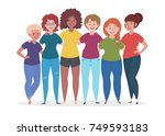 group of women are hugging.... | Shutterstock .eps vector #749593183