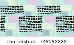 memphis seamless  pattern in... | Shutterstock .eps vector #749593333