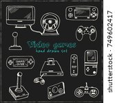 hand drawn doodle video games... | Shutterstock .eps vector #749602417