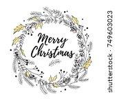 vector laurel wreath made with...   Shutterstock .eps vector #749603023