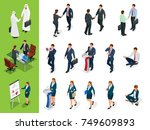 isometric business characters... | Shutterstock .eps vector #749609893
