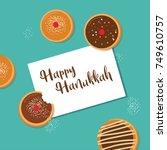 happy hanukkah  traditional... | Shutterstock .eps vector #749610757