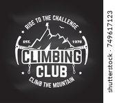 climbing club badge. vector.... | Shutterstock .eps vector #749617123