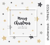 christmas greeting frame card... | Shutterstock .eps vector #749619223