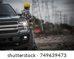caucasian contractor field work ... | Shutterstock . vector #749639473