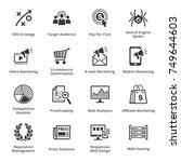 seo   internet marketing icons... | Shutterstock .eps vector #749644603