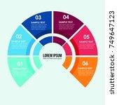 ring infographic modern flat 6... | Shutterstock .eps vector #749647123