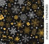 christmas seamless pattern of... | Shutterstock .eps vector #749654083