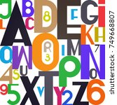 stylish alphabet letters and... | Shutterstock .eps vector #749668807