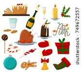christmas food dinner vector... | Shutterstock .eps vector #749672557