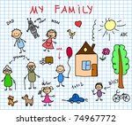 happy family  children's... | Shutterstock .eps vector #74967772