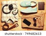 outfit of modern creative men.... | Shutterstock . vector #749682613