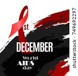 world aids day placard on... | Shutterstock .eps vector #749692297