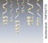 gold streamers. serpentine new... | Shutterstock .eps vector #749702773