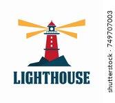 lighthouse logo design. vector... | Shutterstock .eps vector #749707003