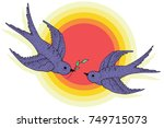 swift birds vector hand drawn... | Shutterstock .eps vector #749715073
