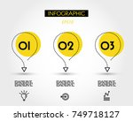 three yellow dotted infographic ... | Shutterstock .eps vector #749718127