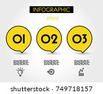 three yellow infographic speech ... | Shutterstock .eps vector #749718157